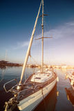 Yacht in a berth Royalty Free Stock Image