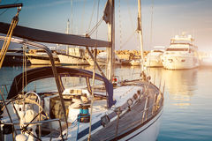 Yacht in a berth Stock Photography