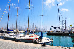 Yacht on the berth in Palma de Majorca Stock Images