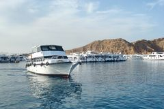 Yacht bianco nel mare tropicale blu, barca d'immersione di safari per il liveaboard immagine stock