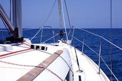 Yacht in the blue sea. Royalty Free Stock Images