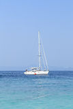 Yacht in blue sea Royalty Free Stock Image