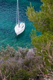 Yacht boat in calanques Stock Photo