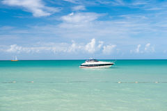 Yacht boat at Exotic beautiful marine beach of Antigua St. Johns Royalty Free Stock Photos