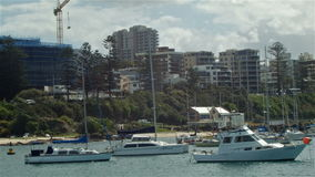 Yacht Boat Harbour Establishing Shot - Wollongong Illawarra NSW. Yacht Boat Harbour Establishing Shot of Wollongong, a is a seaside city located in the Illawarra stock video