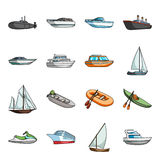 Yacht, boat, liner, types of ship and water transport. Ship and water transport set collection icons in cartoon style. Vector symbol stock illustration Stock Images