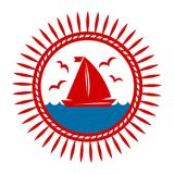 Yacht boat on waves and seagulls vector icon. Yacht boat on sea waves and seagulls in sun vector logo template for marine or nautical yachting sport club icon stock illustration