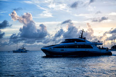 Yacht boat or ship on sea in France in evening Stock Photography