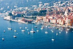 Yacht boats in french riviera. Yacht boats docked in sea of french riviera Stock Image