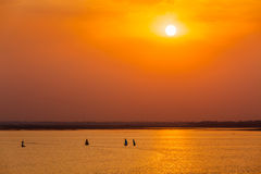 Yacht boats in lake on sunset Stock Photo