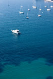 Yacht boats in mediterranean sea. Yacht boats docked in mediterranean sea near coast of french riviera Stock Image