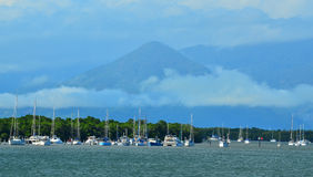 Yacht boats mooing at the entrance to Trinity Inlet Cairns Australia Stock Images