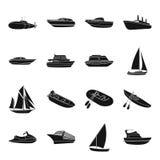 Yacht, Boot, Zwischenlage, Schiffstypen und Wassertransport Gesetzte Sammlungsikonen des Schiffs- und Wassertransportes in der sc stock abbildung