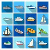 Yacht, Boot, Zwischenlage, Schiffstypen und Wassertransport Gesetzte Sammlungsikonen des Schiffs- und Wassertransportes in der fl stock abbildung