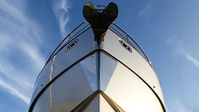 Yacht bow with blue sky background Royalty Free Stock Photo