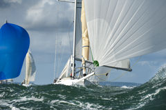 Yacht bow in the swell. At regatta Stock Photography