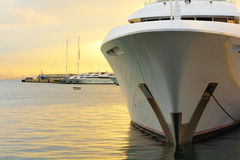 Yacht bow. View of a luxury yacht bow and other yachts at the background Stock Images