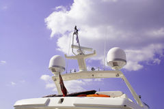 Yacht bridge. Luxury Yacht bridge with radar and communication antenna Royalty Free Stock Photo