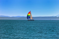A yacht with a bright sail. Stock Photography