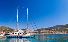 Yacht By Mediterranean Beach Royalty Free Stock Photos