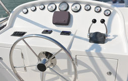 Yacht cabin. Steering wheel on a luxury yacht cabin Stock Photography