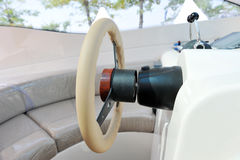 Yacht cabin. Steering wheel on a luxury yacht cabin Royalty Free Stock Photo