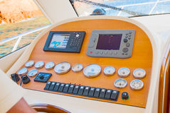 Yacht cabin. Interior view of a yacht cabin control Stock Photography