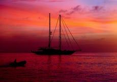 Yacht at Cala Saona in Formentera Stock Photo