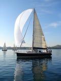 Yacht on calm sea. Yacht sailing on calm blue sea Royalty Free Stock Photography