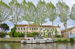 Yacht in the canal de Jonction at Salleles d`Aude Stock Photography