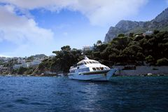Yacht in Capri island coast Royalty Free Stock Image