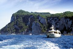 Yacht in Capri island coast Royalty Free Stock Photos