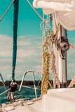 Yacht capstan on sailing boat during cruise Royalty Free Stock Image
