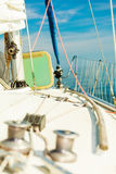 Yacht capstan on sailing boat during cruise Royalty Free Stock Photography