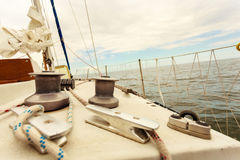 Yacht capstan on sailing boat during cruise Royalty Free Stock Photo