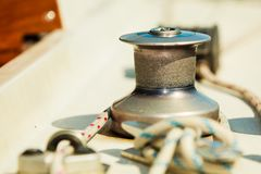 Yacht capstan on sailing boat during cruise Stock Images
