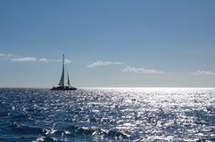 Yacht in caribbean sea Royalty Free Stock Photos