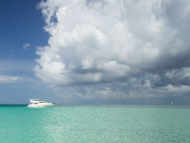 Yacht in the Caribbean Sea. Punta Cana, Dominican Republic Royalty Free Stock Image