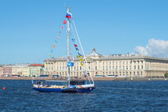 Yacht Central Army Sports Club of the Ministry of Defence of Russia in celebration of Navy Day in the Neva river. Saint Petersburg Royalty Free Stock Photography