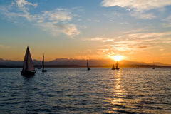Yacht che navigano al tramonto Fotografie Stock Libere da Diritti