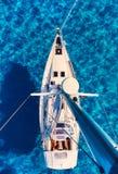 Sailboats at Cala Saona bay royalty free stock images