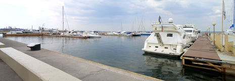 Yacht-club. Yachts and boats in a silent harbor Royalty Free Stock Photography