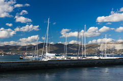 Yacht club. Marine view at a sunny day royalty free stock photography