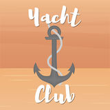Yacht club anchor. Yacht club. Anchor and rope in the open sea. Vector illustration in flat style Royalty Free Stock Photo