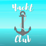 Yacht club anchor 2. Yacht club. Anchor and rope in the open sea. Vector illustration in flat style Royalty Free Stock Image