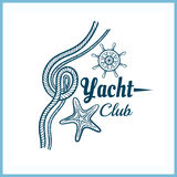 Yacht Club Badge With Starfish Stock Image