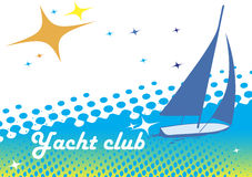 Yacht club banner.Blue background.Abstract sea motive Stock Photo