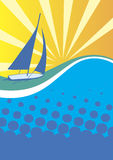 Yacht club banner.Sunny sea background Royalty Free Stock Photos