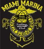 Yacht club da navigação do oceano, arte finala do vetor do grunge para a camisa de t ilustração royalty free