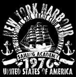 Yacht club da navigação do oceano; arte finala do vetor do grunge para a camisa de t ilustração do vetor